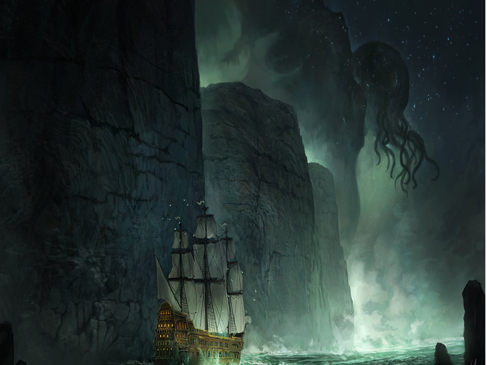 ship and cthulu monster background